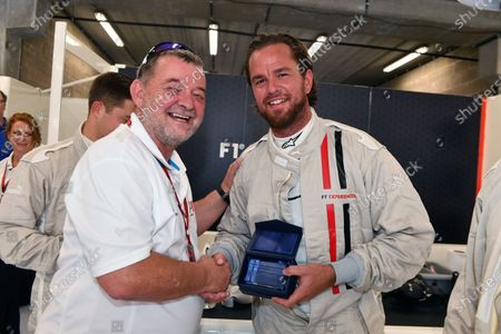 Paul Stoddart (AUS) and F1 Experiences 2-Seater passenger Xavier Malisse (BEL) Tennis Player at Formula One World Championship, Rd12, Belgian Grand Prix, Qualifying, Spa Francorchamps, Belgium, Saturday 26 August  2017.