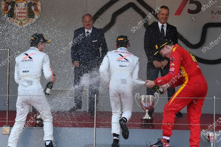 Second placed Johnny Cecotto (VEN) Rapax, race winner Nyck De Vries (NED) Rapax and third placed Gustav Malja (GBR) Racing Engineering celebrate on the podium with the champagne at Formula Two Championship, Rd3, Monte Carlo, Monaco, 25-27 May 2017.