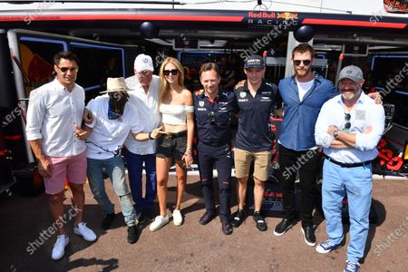 (L to R): Dan Carter (NZL) Rugby Player, Alec Monopoly (USA), Grafitti Artist, Jean-Claude Biver CEO TAG Heuer, Chiara Ferragni (ITA) Fashion Blogger, Christian Horner (GBR) Red Bull Racing Team Principal, Max Verstappen (NED) Red Bull Racing, Chris Hemsworth (AUS) Actor and Philippe Etchebest (FRA) Chef at Formula One World Championship, Rd6, Monaco Grand Prix, Race, Monte-Carlo, Monaco, Sunday 28 May 2017. BEST IMAGE