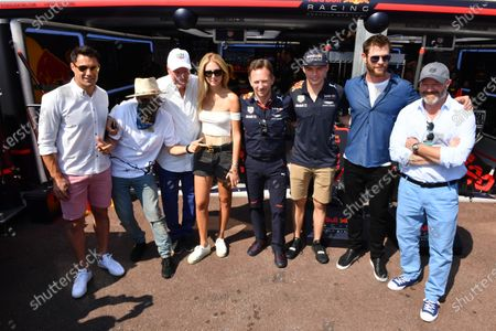 (L to R): Alec Monopoly (USA), Grafitti Artist, Jean-Claude Biver CEO TAG Heuer, Chiara Ferragni (ITA) Fashion Blogger, Christian Horner (GBR) Red Bull Racing Team Principal, Max Verstappen (NED) Red Bull Racing, Chris Hemsworth (AUS) Actor and Philippe Etchebest (FRA) Chef at Formula One World Championship, Rd6, Monaco Grand Prix, Race, Monte-Carlo, Monaco, Sunday 28 May 2017.