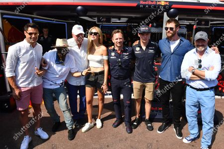 (L to R): Dan Carter (NZL) Rugby Player, Alec Monopoly (USA), Grafitti Artist, Jean-Claude Biver CEO TAG Heuer, Chiara Ferragni (ITA) Fashion Blogger, Christian Horner (GBR) Red Bull Racing Team Principal, Max Verstappen (NED) Red Bull Racing, Chris Hemsworth (AUS) Actor and Philippe Etchebest (FRA) Chef at Formula One World Championship, Rd6, Monaco Grand Prix, Race, Monte-Carlo, Monaco, Sunday 28 May 2017.