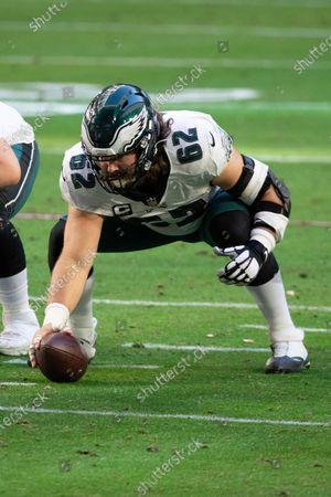 Philadelphia Eagles center Jason Kelce (62) sets the ball during an NFL football game against the Arizona Cardinals, in Glendale, Ariz