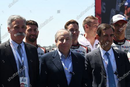 Jean Todt (FRA) FIA President, Pierre Fillon (FRA) ACO President and Chase Carey (USA) Chief Executive Officer and Executive Chairman of the Formula One Group on the grid at Le Mans 24 Hours, Race, Le Mans, France, 17-18 June 2017.
