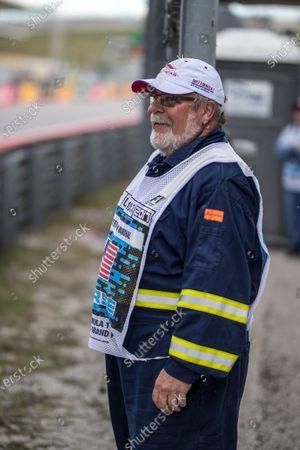 Stock Photo of Bill Thompson (USA) Marshal at Formula One World Championship, Rd17, United States Grand Prix, Qualifying, Circuit of the Americas, Austin, Texas, USA, Saturday 21 October 2017.