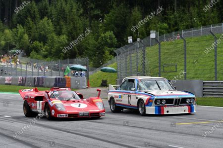 Stock Picture of Jean Alesi (FRA) Ferrari 512S and Dieter Quester (GER) BMW 3.0 CSL on the Legends Parade at Formula One World Championship, Rd9, Austrian Grand Prix, Race, Spielberg, Austria, Sunday 9 July 2017.