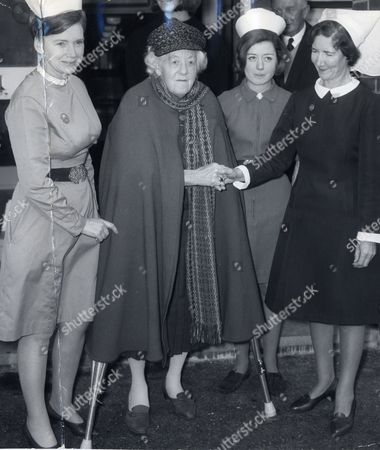 Actress Dame Margaret Rutherford Shakes Hands With Matron Miss K Rolfe On Leaving Hospital.