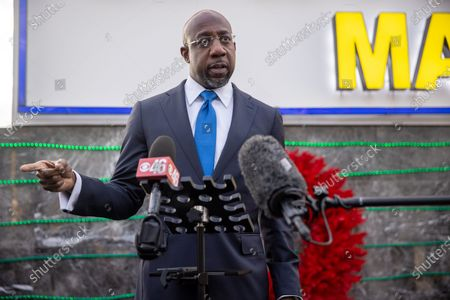 Stock Image of Democratic Senate Candidate Raphael Warnock speaks at a press conference after a rally targeting Latinx voters