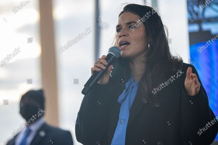 America Ferrera, actress and activist, speaks to supporters of Democratic Senate candidates in Georgia, Jon Ossoff and Reverend Raphael Warnock, waiting for a rally target Latinx voters to start