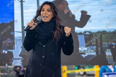 Eva Longoria, actress and activist, speaks to supporters of Democratic Senate candidates in Georgia, Jon Ossoff and Reverend Raphael Warnock, waiting for a rally target Latinx voters to start