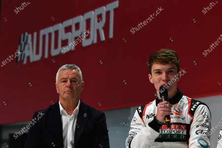 (L to R): Derek Warwick (GBR) and Dan Ticktum (GBR) oon the main stage at Autosport International, Day One, NEC, Birmingham, England, Thursday 11 January 2018.