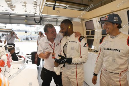 F1 Experiences 2-Seater passenger King Bach (USA), Patrick Friesacher (AUT) F1 Experiences 2-Seater driver and Paul Stoddart (AUS) at Formula One World Championship, Rd17, United States Grand Prix, Race, Circuit of the Americas, Austin, Texas, USA, Sunday 22 October 2017.