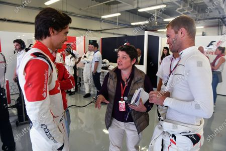 Stock Photo of Esteban Gutierrez (MEX) F1 Experiences 2-Seater Driver, Kate Beavan (GBR) FOM and F1 Experiences 2-Seater passenger at Formula One World Championship, Rd18, Mexican Grand Prix, Preparations, Circuit Hermanos Rodriguez, Mexico City, Mexico, Thursday 26 October 2017.