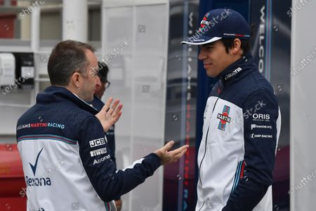 Lance Stroll (CDN) Williams and Paddy Lowe (GBR) Williams Shareholder and Technical Director at Formula One Testing, Day Three, Barcelona, Spain, 8 March 2018.