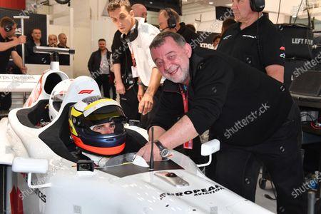 Pedro De La Rosa (ESP) F1 Experiences 2-Seater Driver and Paul Stoddart (AUS) at Formula One World Championship, Rd5, Spanish Grand Prix, Qualifying, Barcelona, Spain, Saturday 12 May 2018.