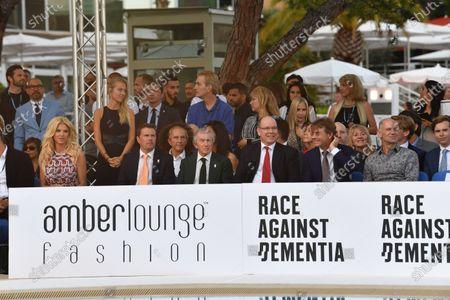 Mark Stewart (GBR), Jackie Stewart (GBR), HSH Prince Albert of Monaco (MON), Paul Stewart (GBR) and Adrian Newey (GBR) Red Bull Racing at Amber Lounge Fasion Show, Le Meridien Beach Plaza Hotel, Monaco, Friday 25 May 2018.