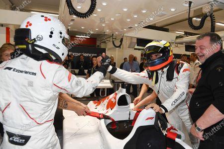 F1 Experiences 2-Seater passenger and Pedro De La Rosa (ESP) at Formula One World Championship, Rd5, Spanish Grand Prix, Qualifying, Barcelona, Spain, Saturday 12 May 2018.