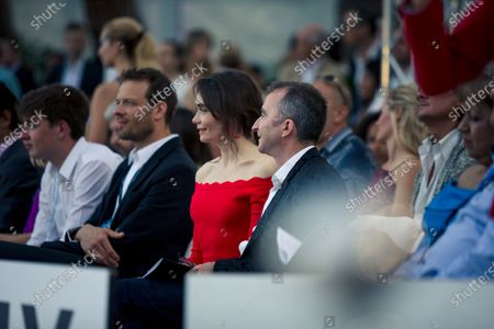 Alex Wurz (AUT) Williams Driver Coach, Paddy Lowe (GBR) Williams Shareholder and Technical Director and wife Anna Danshina (RUS) at Amber Lounge Fasion Show, Le Meridien Beach Plaza Hotel, Monaco, Friday 25 May 2018.