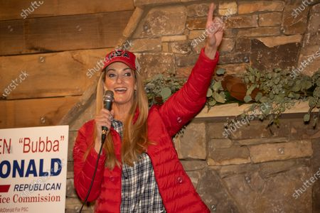 Senator Kelly Loeffler speaks at a rally for herself and Senator David Perdue