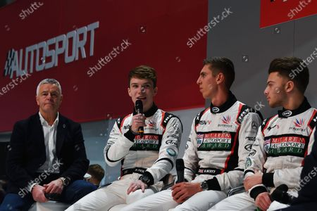 (L to R): Derek Warwick (GBR), Dan Ticktum (GBR), Harrison Scott (GBR) and Max Fewtrell (GBR) on the main stage at Autosport International, Day One, NEC, Birmingham, England, Thursday 11 January 2018.