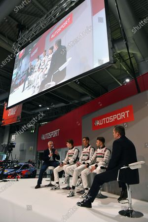 (L to R): Derek Warwick (GBR), Dan Ticktum (GBR), Harrison Scott (GBR) and Max Fewtrell (GBR) talk with Henry Hope-Frost (GBR) on the main stage at Autosport International, Day One, NEC, Birmingham, England, Thursday 11 January 2018.