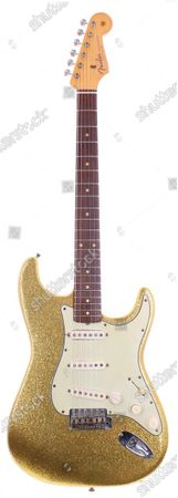 Pictured: Also included in the same sale are a number of rare guitars. The most valuable of the instruments is a 1962 Fender Gold Sparkle Stratocaster electric guitar that belonged to Bob Dylan, worth £80,000.  Floorboards from the stage that The Beatles played on during their first ever advertised gig have emerged for sale for £10,000.  The wooden slats formed part of the stage at Lathom Hall in Liverpool where the Fab Four performed ten times.  Their first advertised concert took place there on May 14, 1960 - George Harrison's 18th birthday - when they were still known as 'The Silver Beats'.