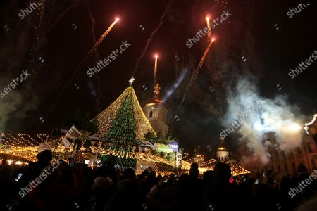 Editorial picture of Lighting of Ukraine's main Christmas tree in Sofiiska Square in Kyiv - 19 Dec 2020