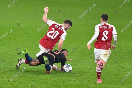 Shkodran Mustafi of Arsenal fouls Gabriel Jesus of Manchester City