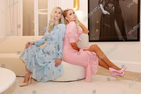 Stock Picture of Exclusive - Paris Hilton and Nicky Hilton Rothschild wearing Alessandra Rich
