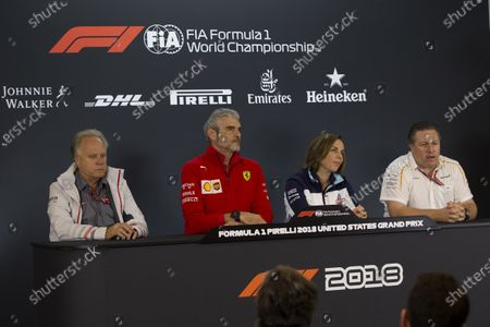 (L to R): Gene Haas, Founder and Chairman, Haas F1 Team, Maurizio Arrivabene, Ferrari Team Principal, Claire Williams, Williams Deputy Team Principal and Zak Brown, CEO, McLaren Racing in Press Conference