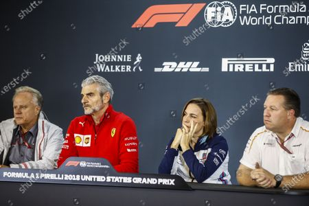 Gene Haas, Team Owner, Haas F1, Maurizio Arrivabene, Team Principal, Ferrari, Claire Williams, Deputy Team Principal, Williams Racing, and Zak Brown, CEO, McLaren Racing, in the team principals Press Conference