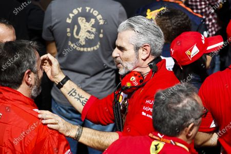 Maurizio Arrivabene, Team Principal, Ferrari, celebrates in Parc Ferme with team mates