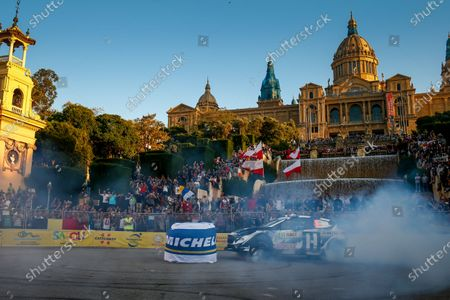 Ken Block, Hoonigan Racing Division, Ford Fiesta RS WRC 2018, puts on a show of donuts in front of huge crowds at the Barcelona SuperSpecial stage [SS1] for Rally Spain.