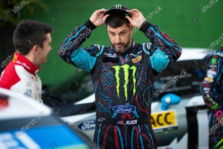 Ken Block, Hoonigan Racing Division, Ford Fiesta RS WRC 2018, relaxed before starting Rally Catalunya de Espana