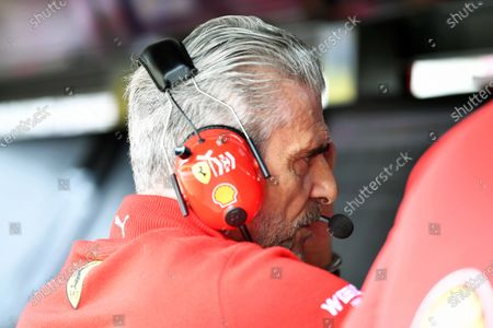 Stock Photo of Maurizio Arrivabene, Ferrari Team Principal on pit wall gantry