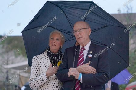 Sen. Pat Roberts, R-Kan., and his wife Franki Roberts attend the dedication ceremony for the monument dedicated to Dwight D. Eisenhower, in Washington. Sen. Pat Roberts, delivered his farewell speech on the Senate floor Dec. 10, 2020 after 40 years in Congress. Roberts, is winding down a Washington career that spans ten presidencies, beginning in 1967 as an aide to two Kansas Republicans, Sen. Frank Carlson and later Rep. Keith Sebelius