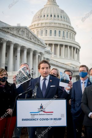 United States Representative Dean Phillips (Democrat of Minnesota) joins members of the Problem Solvers Caucus for a press conference regarding the current stimulus bill, outside of the US Capitol in Washington, DC,.