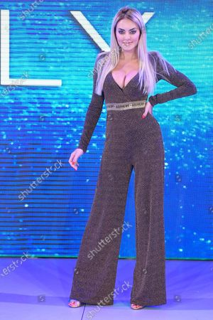 Stock Photo of Elena Morali competing at the Miss Universe Italy 2020 finals contest at Gold Studios.