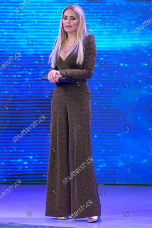 Stock Image of Elena Morali competing at the Miss Universe Italy 2020 finals contest at Gold Studios.