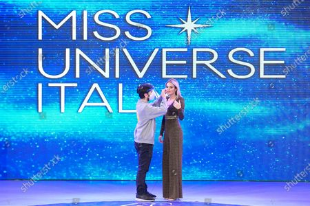 Elena Morali competing at the Miss Universe Italy 2020 finals contest at Gold Studios.