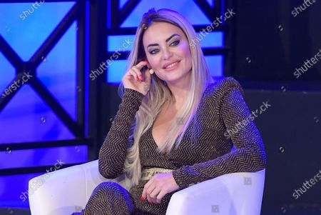 Stock Picture of Elena Morali competing at the Miss Universe Italy 2020 finals contest at Gold Studios.