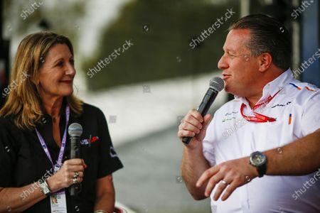 Stock Image of Zak Brown, CEO, McLaren Racing, is interviewed by Louise Goodman