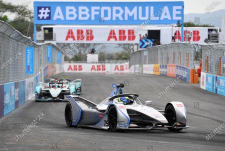 Felipe Massa (BRA), Venturi Formula E, Venturi VFE05, leads Mitch Evans (NZL), Panasonic Jaguar Racing, Jaguar I-Type 3, and Nelson Piquet Jr. (BRA), Panasonic Jaguar Racing, Jaguar I-Type 3