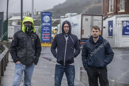 British truck drivers Eric Johnson (50) Dave King (48) and (right) Dean Hammond (31) stranded in Dover Port, England, UK
