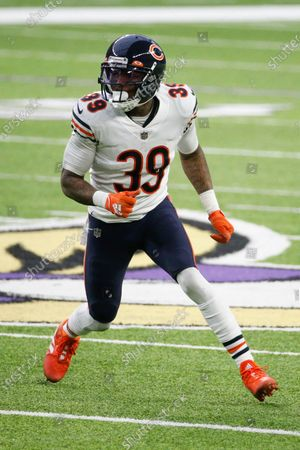 Chicago Bears safety Eddie Jackson runs on the field during the second half of an NFL football game against the Minnesota Vikings, in Minneapolis