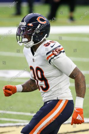 Chicago Bears safety Eddie Jackson gets set for a play during the second half of an NFL football game against the Minnesota Vikings, in Minneapolis