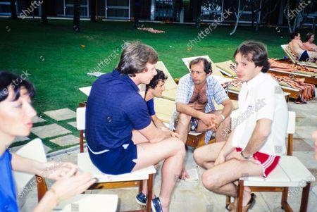 Stock Picture of Didier Pironi, Alain Prost, Ron Dennis and Gilles Villeneuve.