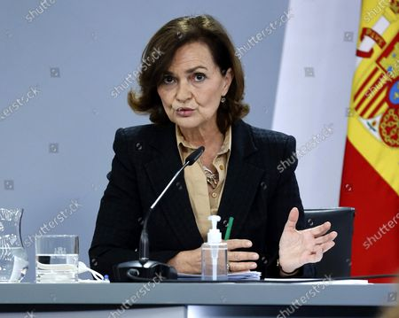 Spanish first deputy Prime Minister Carmen Calvo, speaks during a press conference after the cabinet meeting at Moncloa Palace in Madrid, Spain, 22 December 2020.