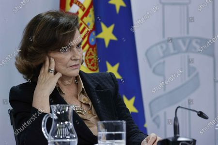 Stock Image of Spanish first deputy Prime Minister Carmen Calvo, speaks during a press conference after the cabinet meeting at Moncloa Palace in Madrid, Spain, 22 December 2020.