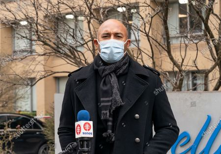 Mariano Rivera speaks while joining SOMOS founder and Chairman of the board Dr. Ramon Tallaj to deliver Christmas gifts to residents of Isabella nursing home on Washington Heights in Manhattan. Residents of nursing homes and their staff were hit by COVID-19 pandemic very hard, many were sick and lots of seniors and medical personnel have died.