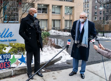 Baseball Hall of Fame Mariano Rivera joins SOMOS founder and Chairman of the board Dr. Ramon Tallaj to deliver Christmas gifts to residents of Isabella nursing home on Washington Heights in Manhattan. Residents of nursing homes and their staff were hit by COVID-19 pandemic very hard, many were sick and lots of seniors and medical personnel have died.